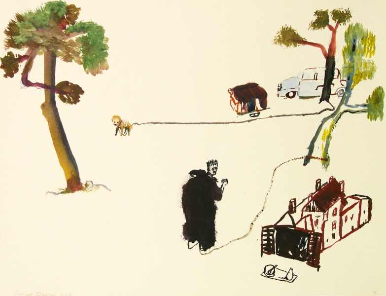 Works on paper  2000 to Present Confused dog and man.