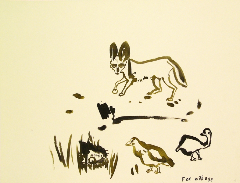 Works on paper  2000 to Present Fox with egg.