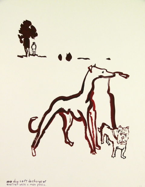 Works on paper  2000 to Present One dog left in charge of another while a man pees.