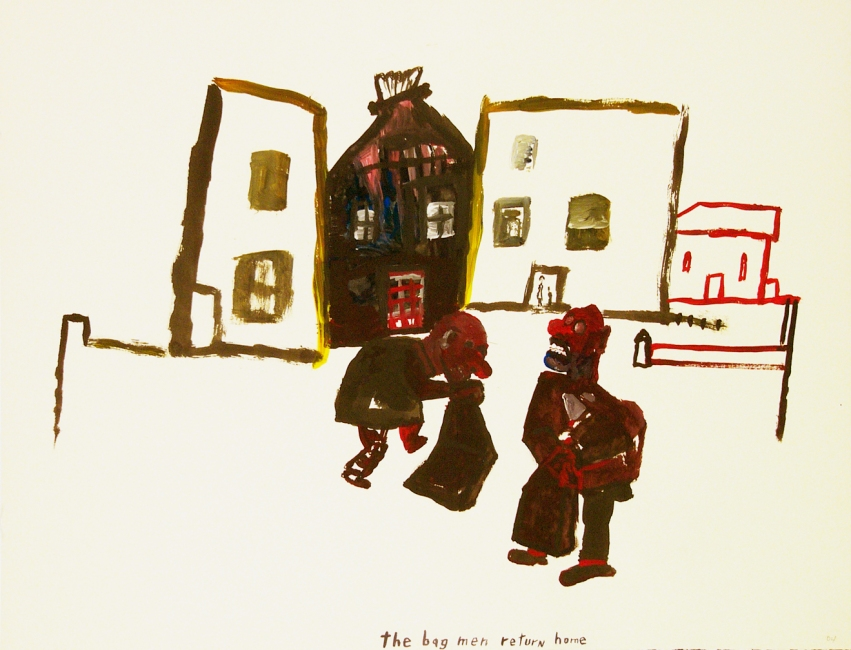 Works on paper  2000 to Present The bag men return home.