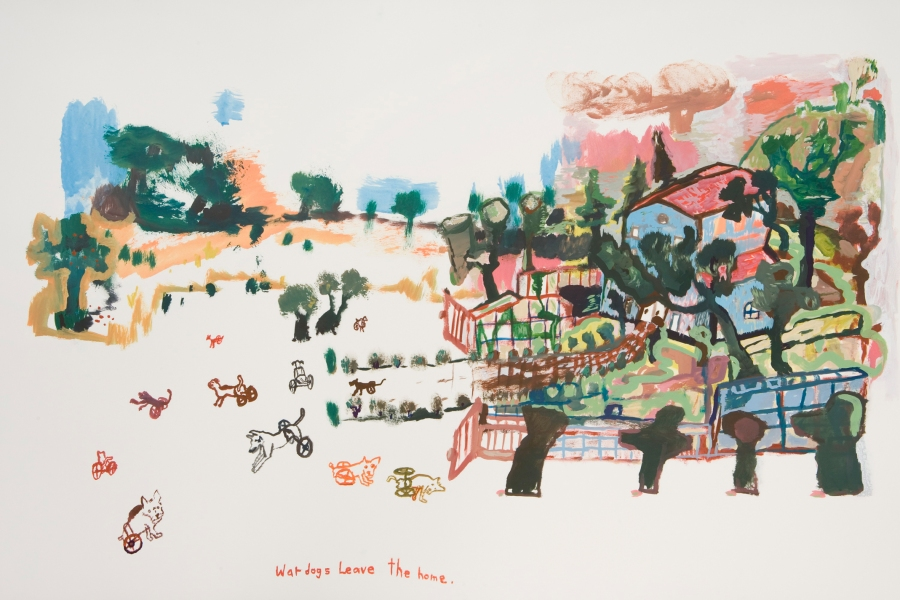 Works on paper  2000 to Present War dogs leave the home.