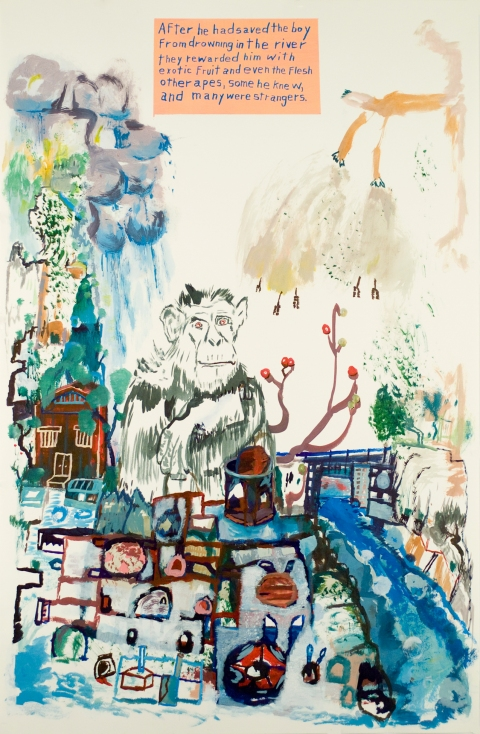 Works on paper  2000 to Present After he had saved the boy from drowning in the river they rewarded him with exotic fruit and even the flesh of other apes, some he knew, and many were strangers