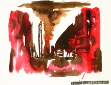 Roger Palmer Works on paper  2000 to Present ink and red wine on rag