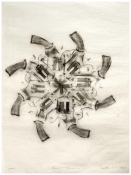 Rosemarie Fiore Gun Rubbings graphite rubbing on Japanese silk tissue paper