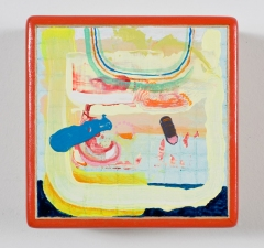 Painting Oil on ceramic mounted on a cherry panel