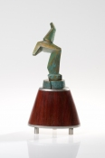 Sculpture Bronze, stainless steel, African padauk