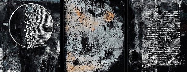 Roxanne Faber Savage Moon Project paper lithograh on plexiglass