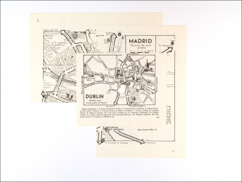 Roy Baugher Sights, places Cut-and-pasted printed paper on paper, 3 sheets, sheet 3 of 3