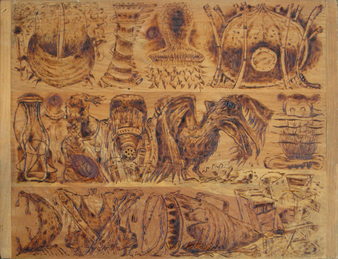Cardboard, Wood and Stone Pyrography on wood