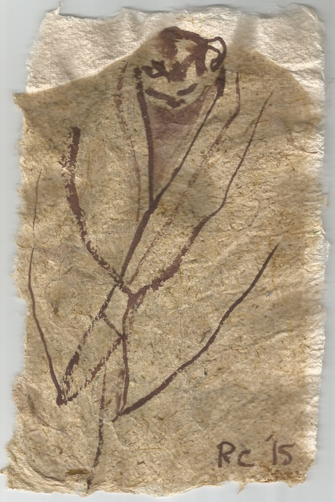 Drawing, photography and Print sepia graphite on handmade paper