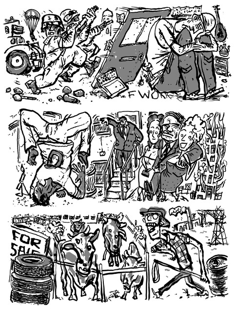 Russell Christian FAST and FURIOUS Comics/Occupy Comix ink and photoshop
