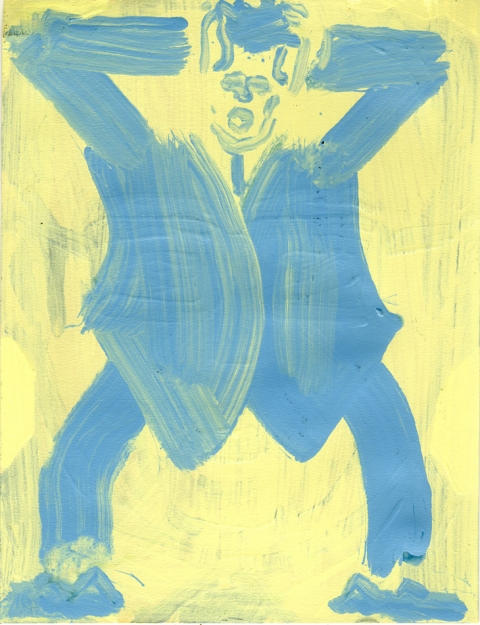 Paintings On Paper Blue Man (The Voices)
