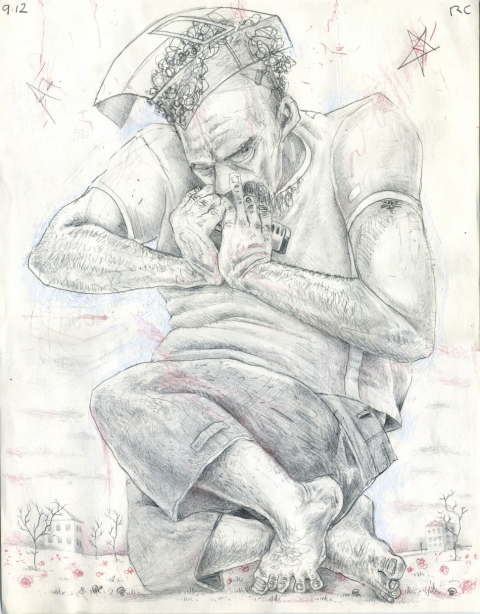 Drawing, photography and Print Harmonica Player