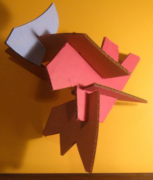 Cardboard, Wood and Stone Slot Sculpture (2)