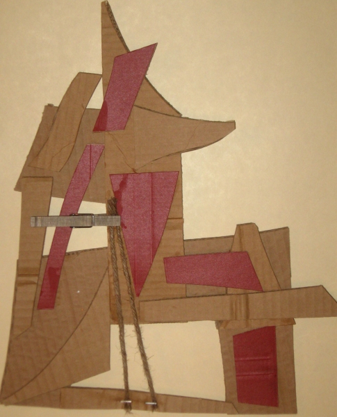 Cardboard, Wood and Stone Head (Red)