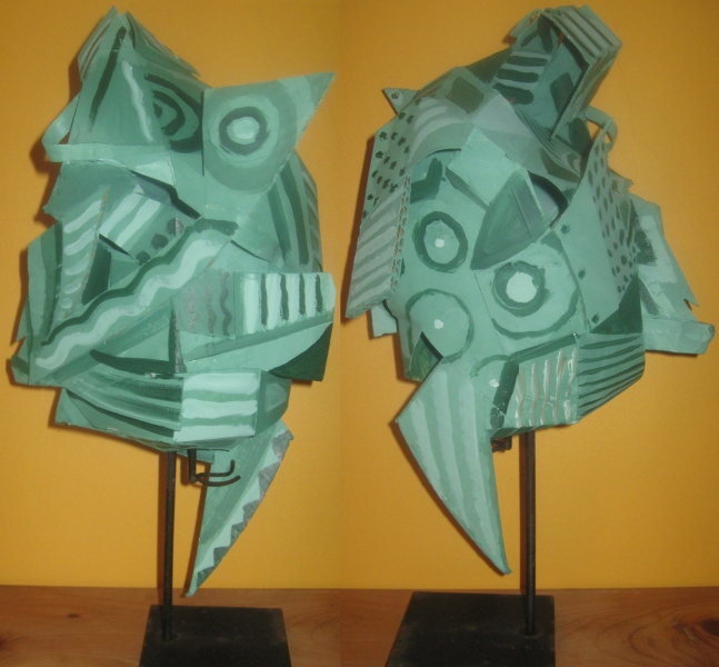 Cardboard, Wood and Stone Fish Head (two views)