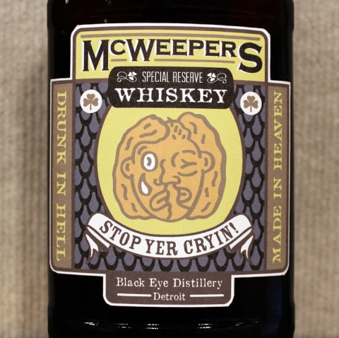 "RYAN STANDFEST eye teeth ""McWeeper's"" front label detail."