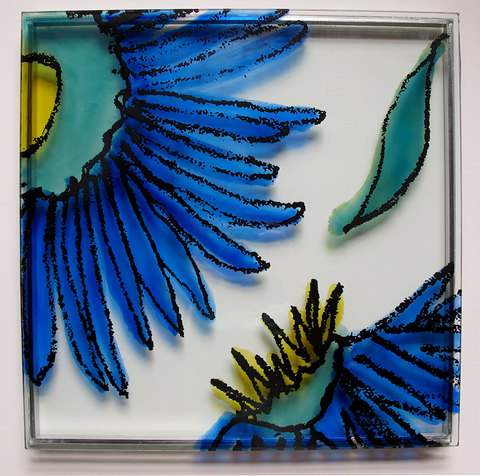 SALLY APFELBAUM  PUBLIC ART Ceramic Melting Colors on Double Paned Glass
