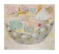 Sally Bowring Images, Installations and Ideas acrylic, collaged  mylar and pom poms