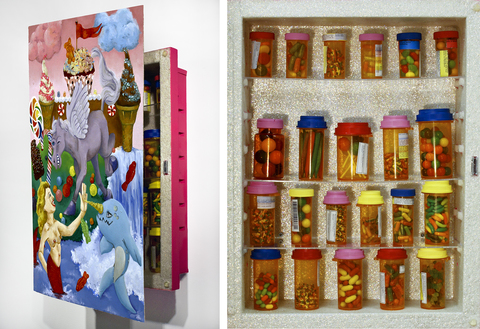 Sam Fein Mixed Media paint, glitter, candy, prescription bottles, and mixed media on medicine cabinet