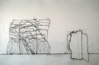 Samuel Nigro XLARGE DRAWINGS from THE GRANITE WALL SERIES – Nos. 03, 04, 05 graphite on paper