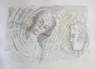 Sam Thurston Poem Drawings pencil and watercolor