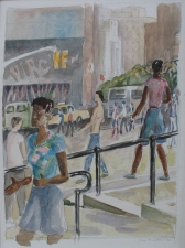 Sam Thurston 14th Street painting and studies watercolor