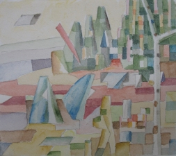 Sam Thurston Four Figure Landscape and studies watercolor