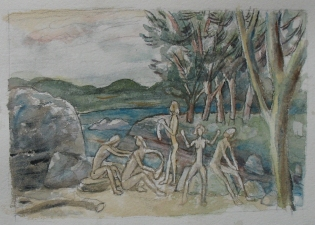 Sam Thurston Four Figure Landscape and studies watercolor and pencil