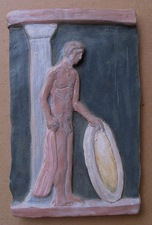 Sam Thurston Ceramics: male nude low reliefs, 2000-02 glazed clay