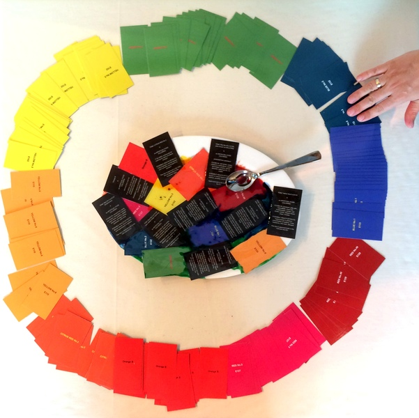 "EXPO Milano 2015 - ""CIRCLE OF LIFE"" FOOD DYE COLOR WHEEL - info cards on a food platter"
