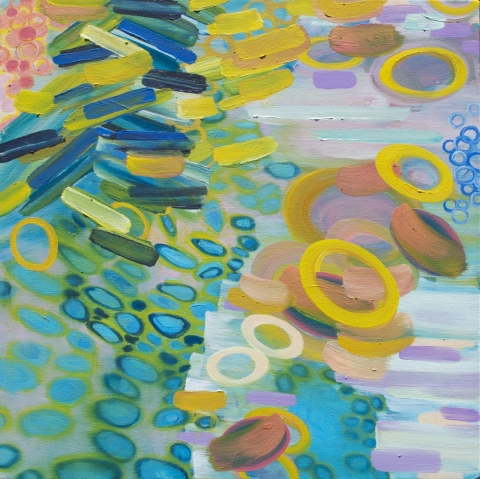 Sandy Deacon Paintings--Aquatic, Organic Abstractions oil on canvas