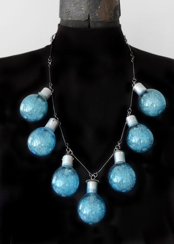 Sandy Johanson Photography Based Jewelry Sylvania Blue Dot Flashbulbs and sterling silver