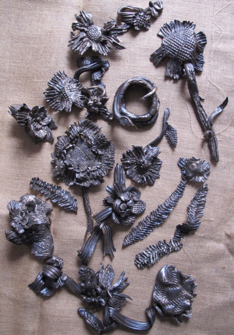 Bronze + Clay  Broken Flowers