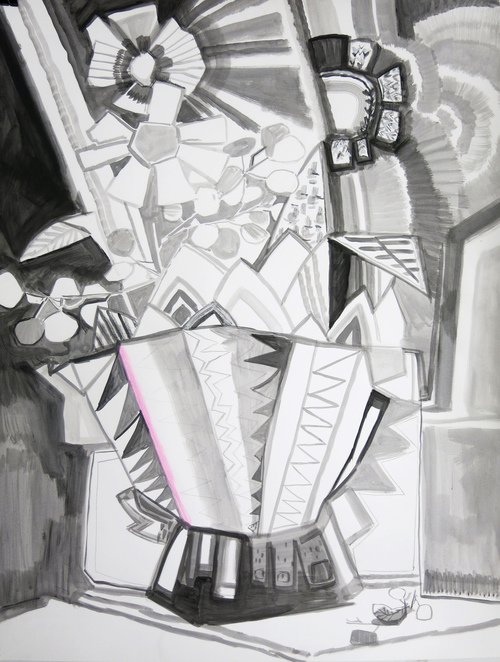 Paper  Still Life in Footed Vase