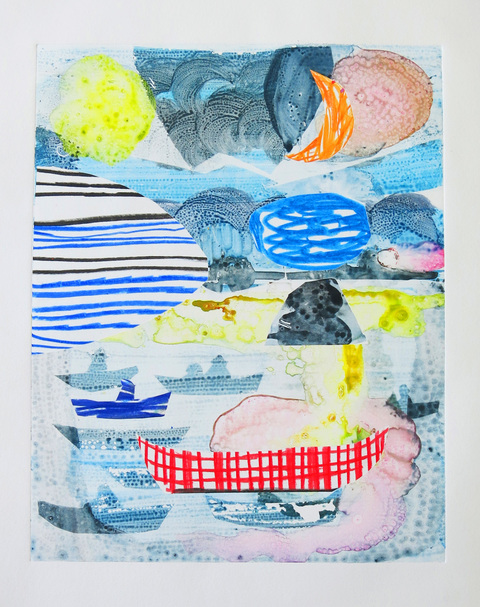 Monoprints 2018 Low Tide