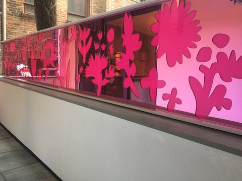 Bronze + Clay + Plexi Pink Pansies (Light box mural)