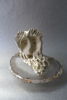 Sarah Bedford Bronze + Clay  Fired clay on agate Plinth