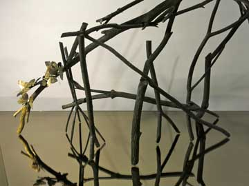Sarah Bedford Bronze + Clay  Twigs, paint, mirror and feathers