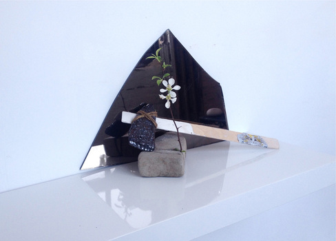 Sarah Bedford Bronze + Clay  Mirror, ceramic, rock and branch