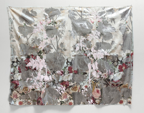 Sarah Fairchild Mixed Media Acrylic, metallic foil, embroidery and Swarovski crystals on printed fabric