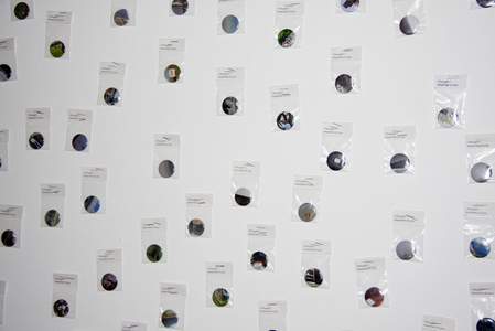 Sarah Iremonger I thought I dreamed of you 2009-10 Photographs printed as 1,500 badges, plastic bags, badge labels