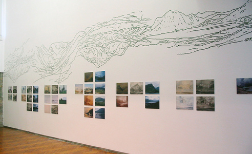 Sarah Iremonger Upside-down Mountains 2003 Wall painting, photographs, reproduction prints