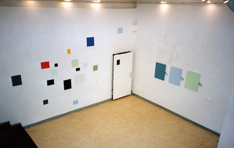 Sarah Iremonger from effect to ideology and back again 2000 Left household paint, car spray paint, acrylic paint on various boards, left felt, stretcher, household paint on canvas, business cards, identity tags