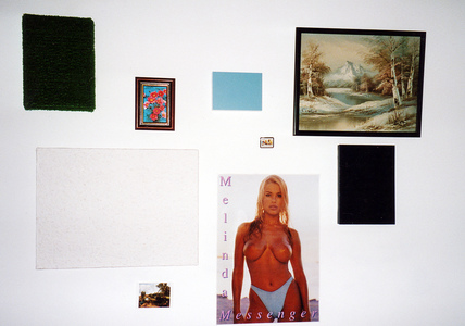 Sarah Iremonger Nothing 1998-2003 Found painting, poster, postcards, fridge magnet, astro turf, photograph frame, wood-chip wall paper, stretchers, household paint, acrylic paint, mdf boards