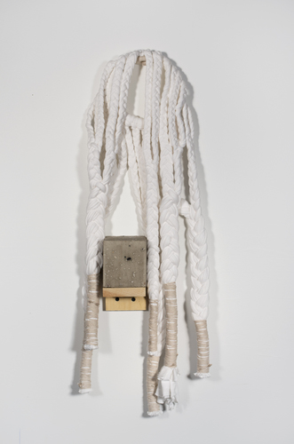 Sarah McDougald Kohn 2012 Cotton jersey, cotton twine, bamboo, stainless steel, wood ash, glue, and wood