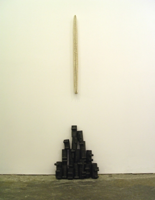 Sarah McDougald Kohn 2007 Cotton string, coat hooks, cardboard, glue, cork & graphite