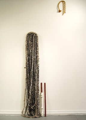 Sarah McDougald Kohn 2006 & Older Linen, canvas, denim, wood, chalk, paper pulp, cardboard, plaster, cork, paint, rope, glue & sand