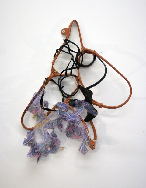 Sara Hubbs JUST SAYIN' discarded shoes, purse, fabric, & thread