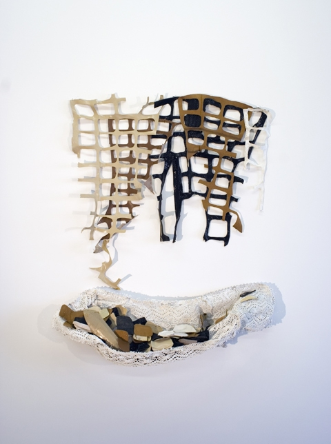 Sara Hubbs JUST SAYIN' discarded shoes, shawl, latex paint, & thread